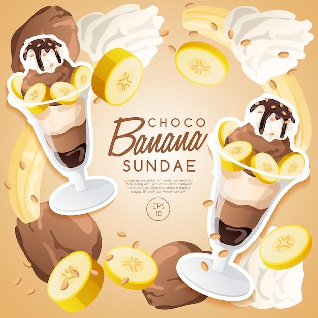 Ice cream sundae set, chocolate banana sundae. Premium Vector