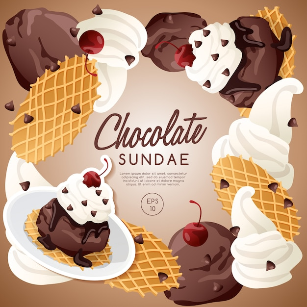 Ice cream sundae set, chocolate sundae. Premium Vector