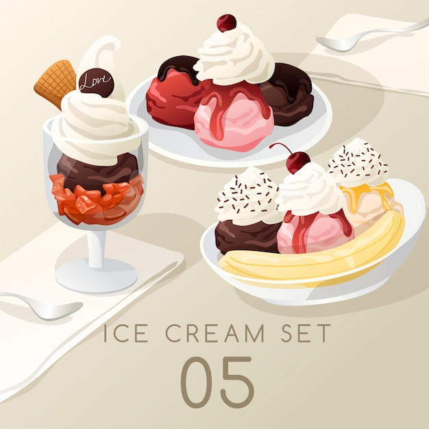 Ice cream sundae set . Premium Vector