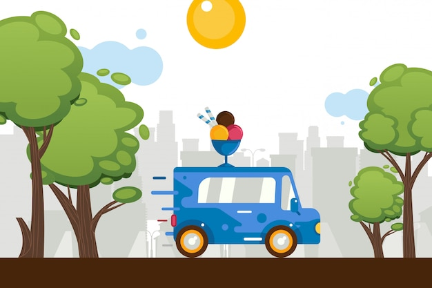 Фургон помадок мороженого двигает вокруг городка, иллюстрации. на крыше автомобиля фигура мультфильма, совки мороженого в миску магазин на колесах Premium векторы