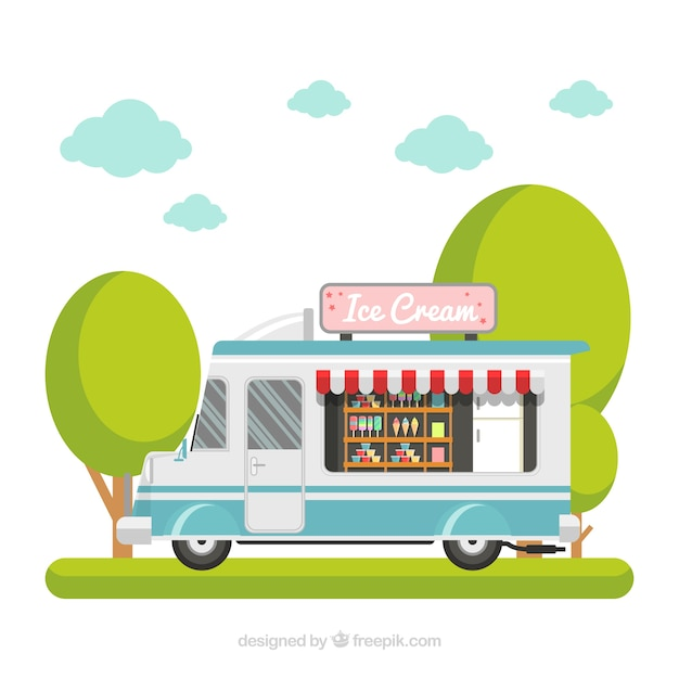 Ice cream truck background in flat\ design