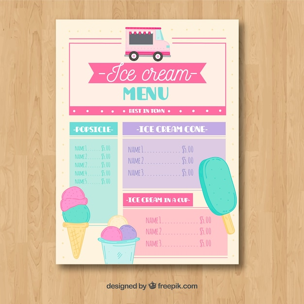 Ice cream truck menu with lovely style | Stock Images Page