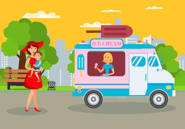 Ice cream van in park flat vector illustration Premium Vector
