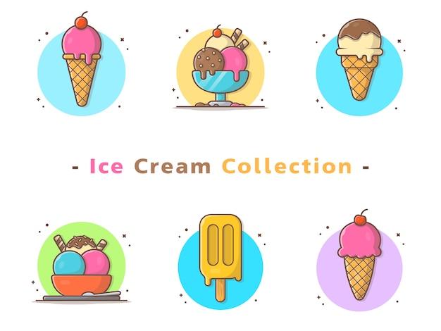 Мороженое вектор collcetion Premium векторы