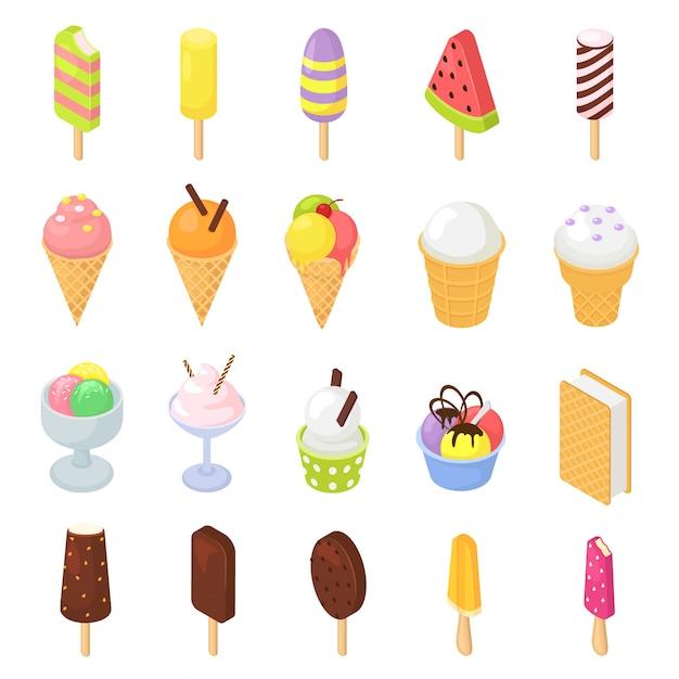 Ice cream vector icecream in cone with chocolate vanilla and iced creamer dessert on scoop icing candy icy cream isometric Premium Vector