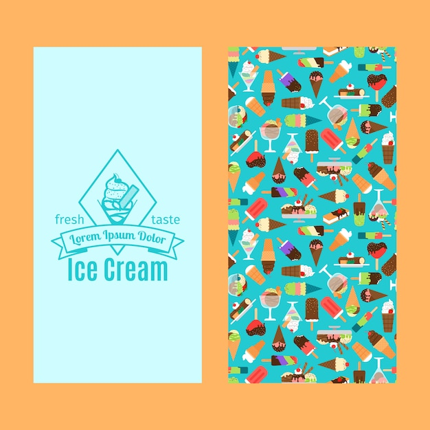 Ice cream vertical flyer design Premium Vector