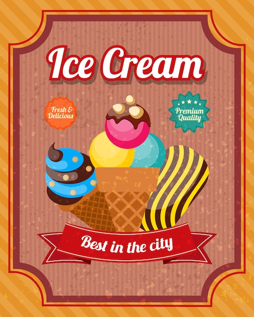 Ice cream vintage poster Free Vector