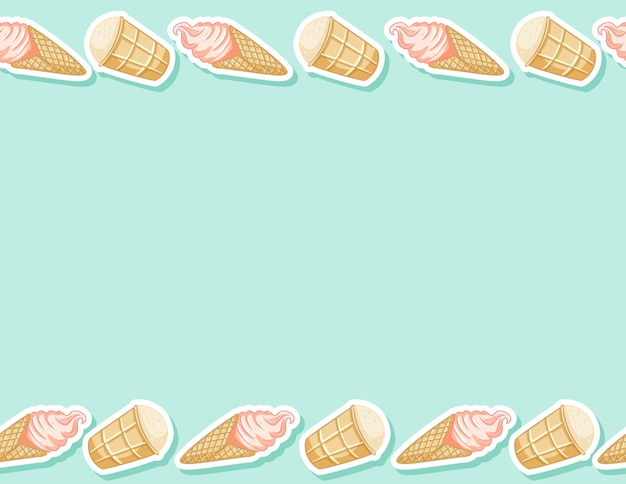 Ice cream in waffle cone seamless pattern. cute cartoon style background texture tile Premium Vector