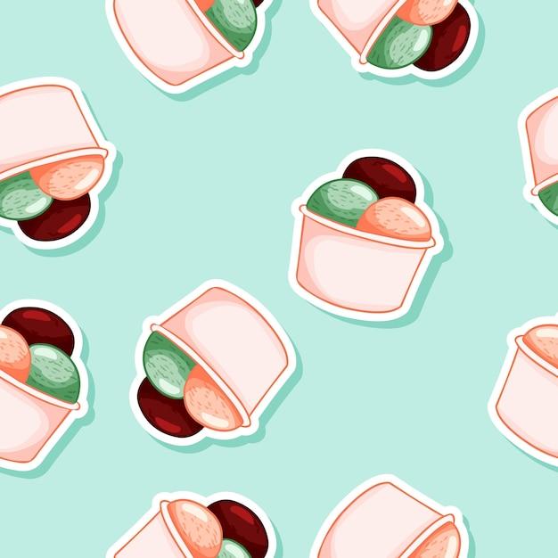 Ice cream in waffle cone seamless pattern Premium Vector