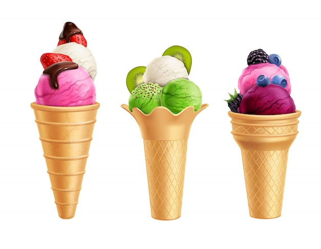 Ice cream with fruits realistic set Free Vector