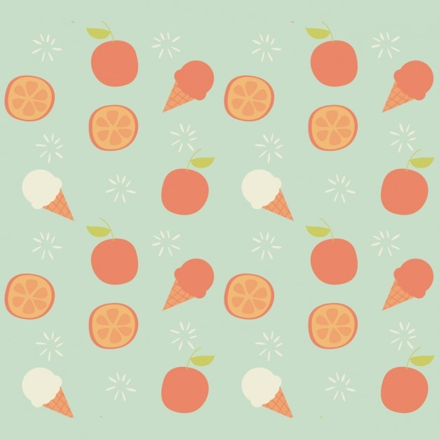Ice creams and fruits pattern design Free Vector