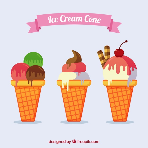 Ice-creams with cones Free Vector