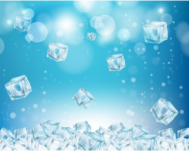 Ice cube abstract background vector illustration Premium Vector