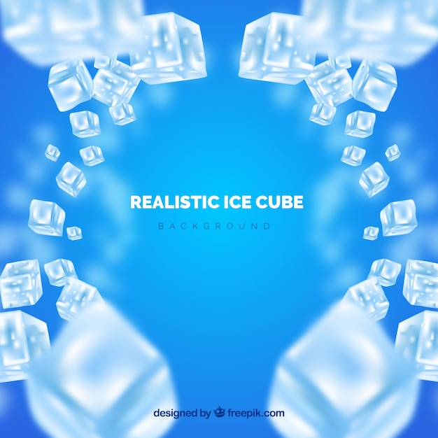 Ice cube background in realistic style Free Vector