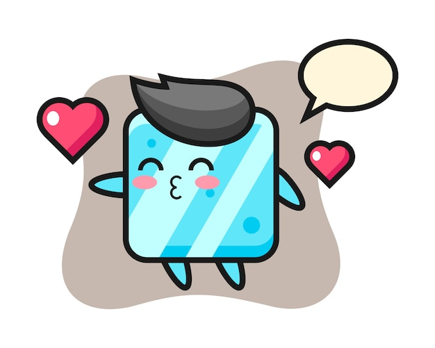 Ice cube character cartoon with kissing gesture Premium Vector