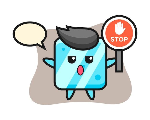 Иллюстрация персонажа кубика льда со знаком остановки Premium векторы