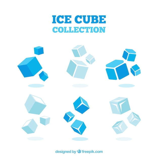 Ice cube collection with 2d design Free Vector