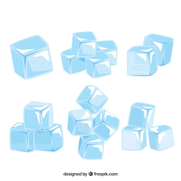 Ice cube collection with flat design Free Vector