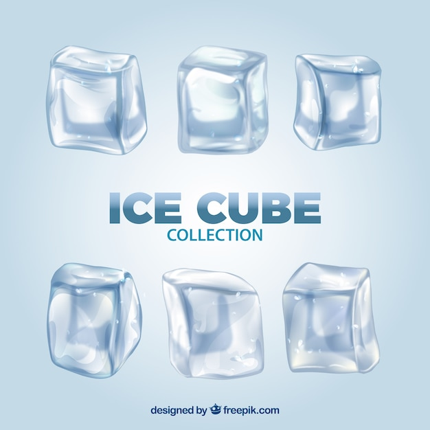 Ice cube collection with realistic style Free Vector