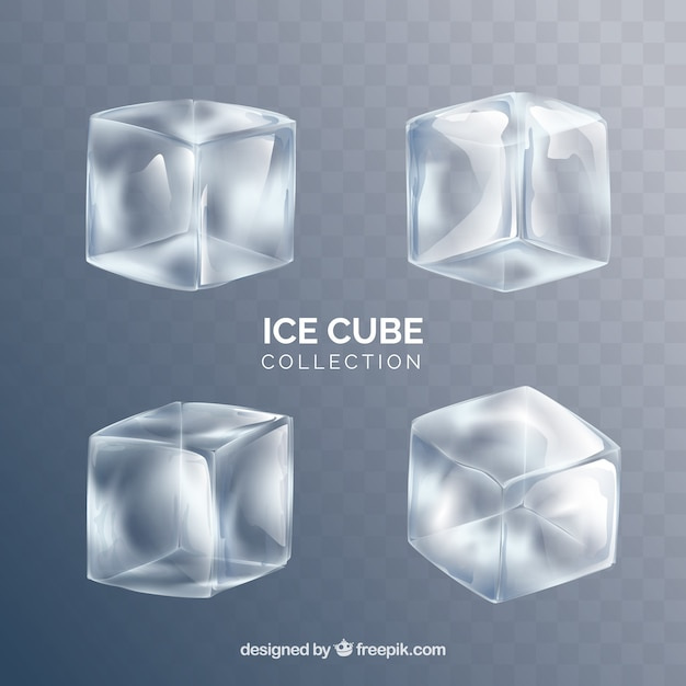 Ice cube collection with realistic style Premium Vector