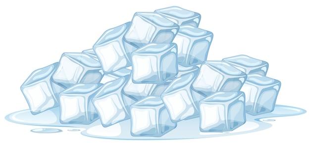 Cubetto di ghiaccio su sfondo bianco Vettore gratuito