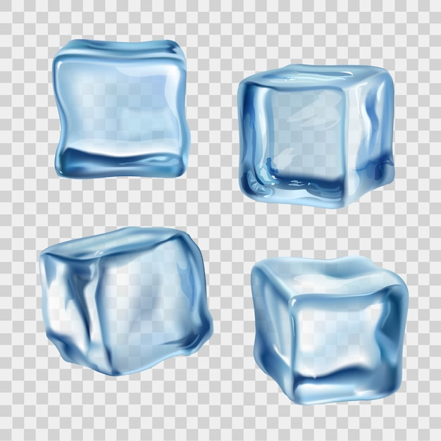 Ice cubes blue transparent Free Vector