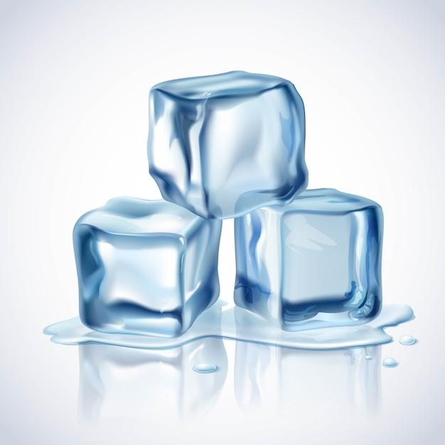 Cubetti di ghiaccio blu Vettore gratuito
