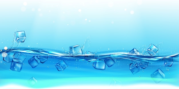Ice cubes floating water with splashes and drops background Free Vector