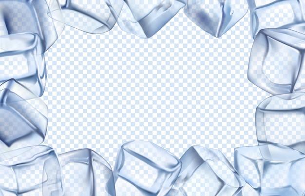アイスキューブフレーム。チルボーダー、氷のような冷たいキューブ、アイスの長方形フレームの図 Premiumベクター