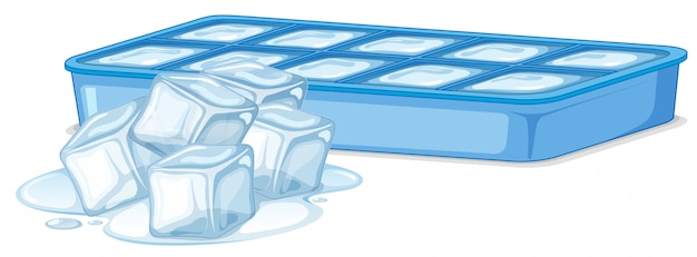 Ice cubes in ice box on white Free Vector