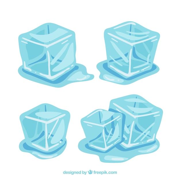 Ice cubes melting collection Free Vector