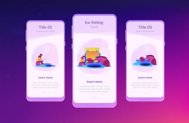 Шаблон интерфейса приложения для подледной рыбалки. Premium векторы