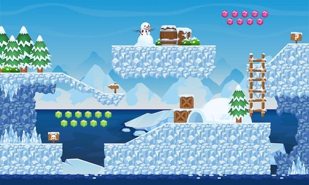 Ice game tileset Premium Vector