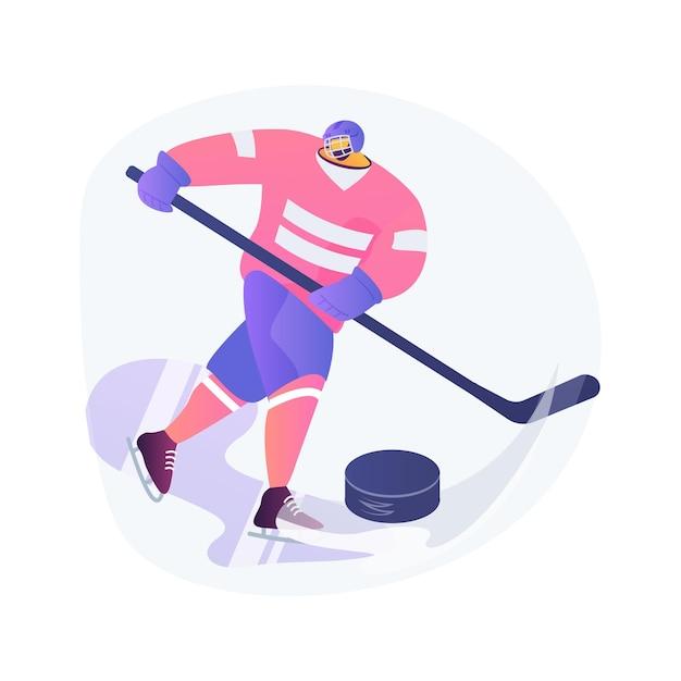 Иллюстрация вектора абстрактного понятия хоккея с шайбой. спортивное оборудование на льду, профессиональный хоккейный клуб, чемпионат мира, командные тренировки, смотреть турнир в прямом эфире, защитная форма абстрактная метафора. Бесплатные векторы