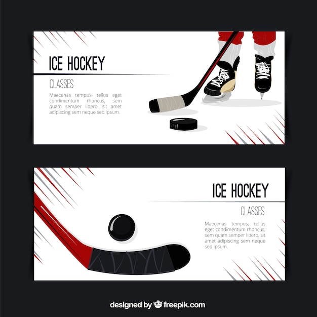 Ice hockey banners Free Vector