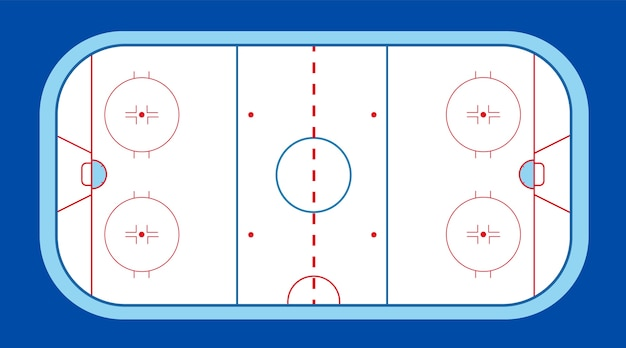 Хоккейное поле с шайбой и клюшкой. зимний спорт на льду. стадион с разметкой и катком. Premium векторы