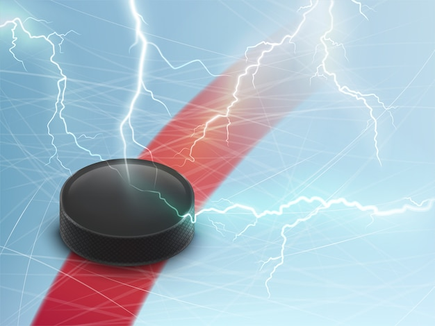 Ice hockey horizontal banner with black puck on\ blue ice and electrical lightnings.