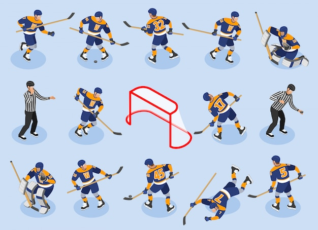 Хоккей изометрические иконки с защитой игроков вперед вратари вратарь шайба судья на катке Бесплатные векторы