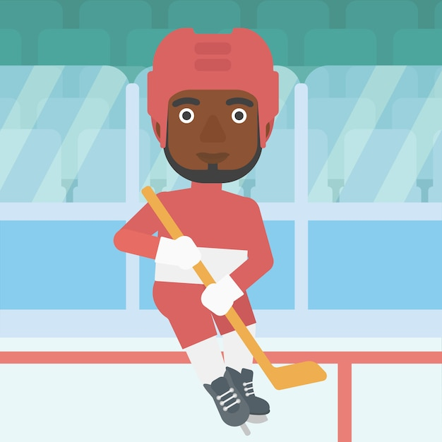 Ice hockey player with stick vector illustration. Premium Vector