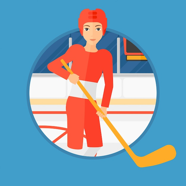 Ice-hockey player with stick. Premium Vector