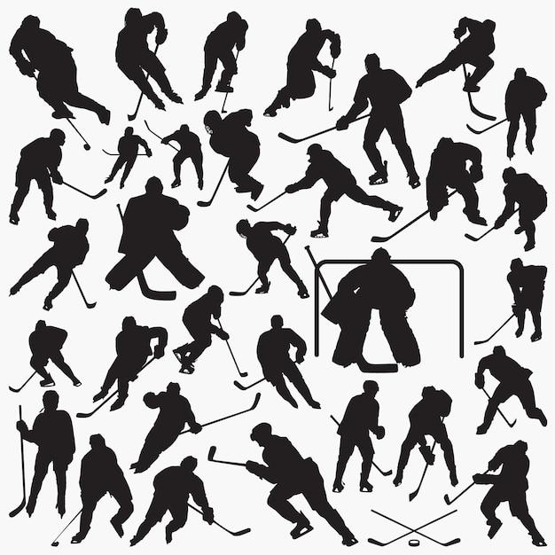 Хоккей силуэты Premium векторы