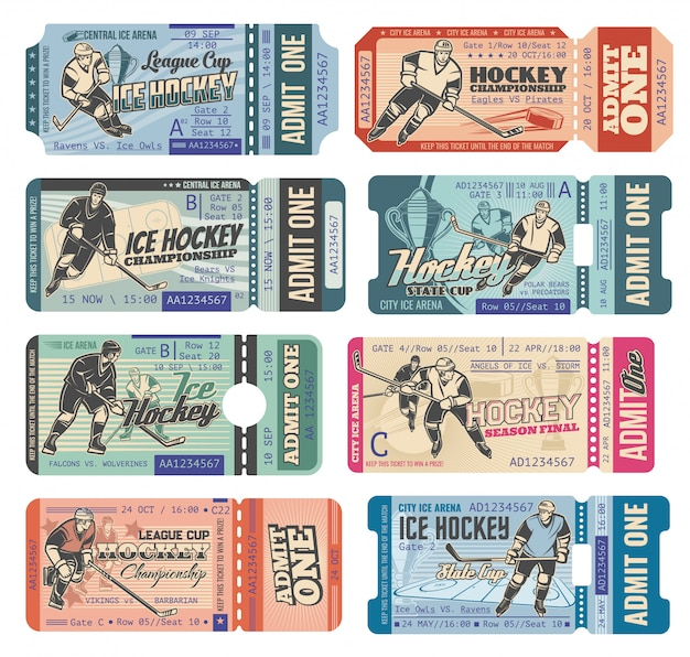 Ice hockey tickets, sport game tournament cup Premium Vector