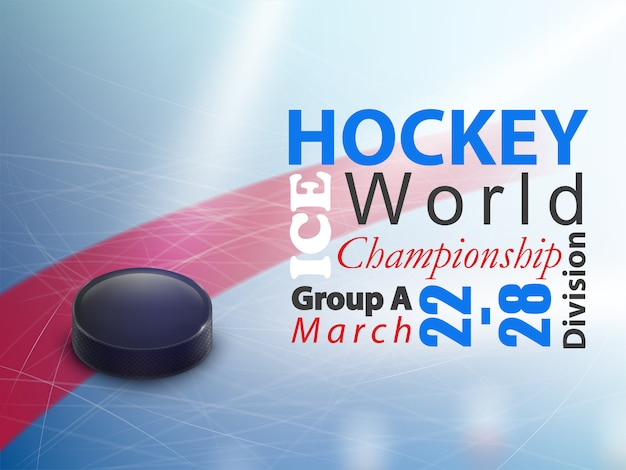 Ice hockey world championship horizontal\ banner. Winter team game on skating rink with black
