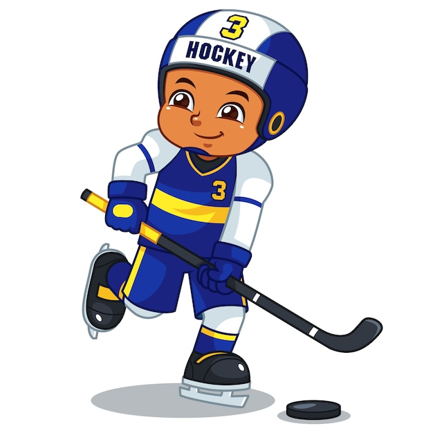 Ice hokey player boy ready to shoot. Premium Vector
