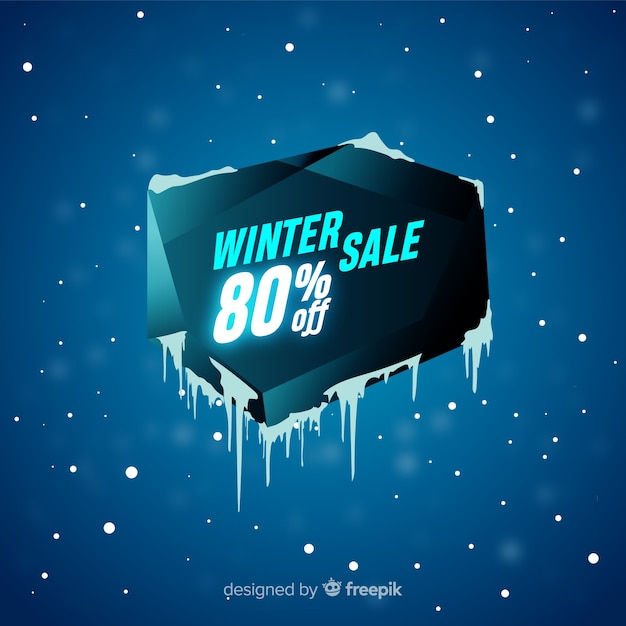 Ice hole winter sale background Free Vector