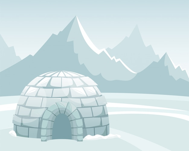 Ice igloo in the field against the mountains. winter northern landscape. the life of the inuit. Premium Vector