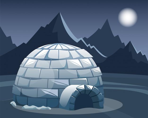 山に対するフィールドでの氷のイグルー。夜の冬の北の風景。イヌイットの生活。 Premiumベクター