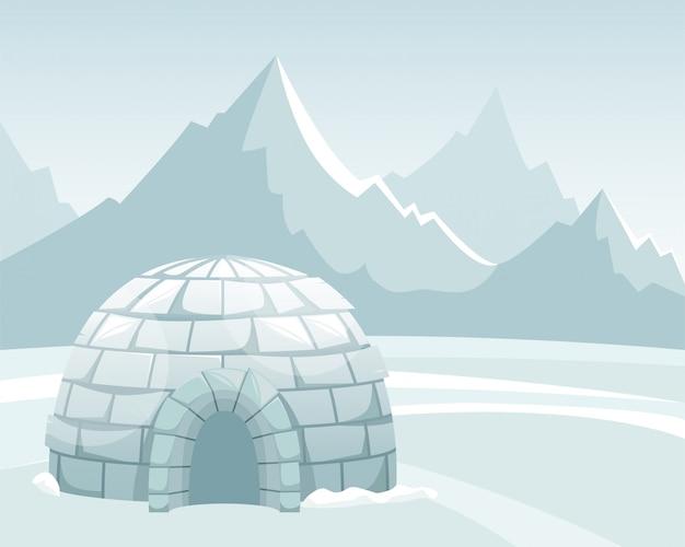 山に対するフィールドで氷イグルー。冬の北の風景。イヌイットの人生。 Premiumベクター