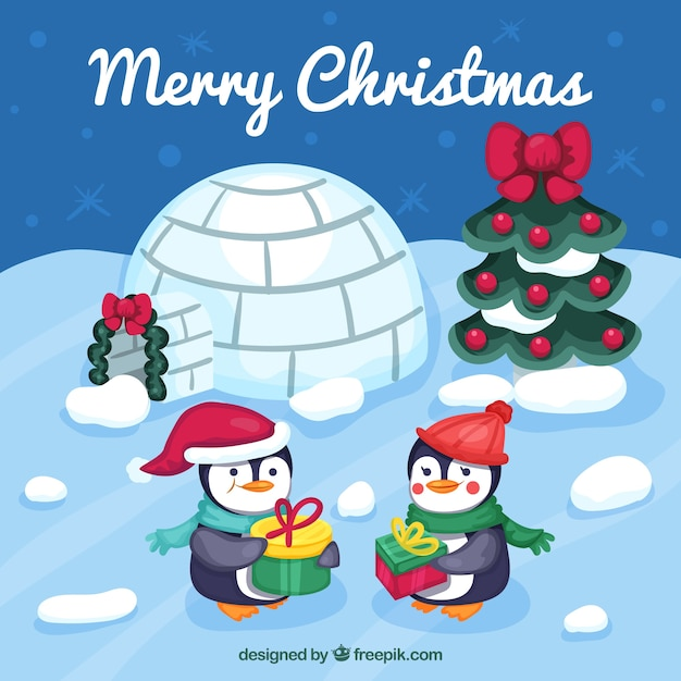 Ice landscape background with christmas penguins Free Vector