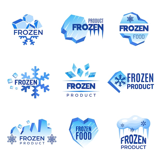 Ice logo. frozen product abstract badges cold and ice vector symbols. ice cold crystal badge for product frozen illustration Premium Vector